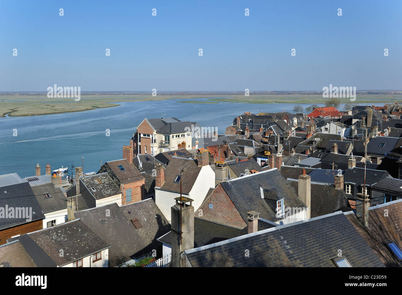 View over the town Saint-Valery-sur-Somme, Bay of the Somme, Picardy, France - Stock Image