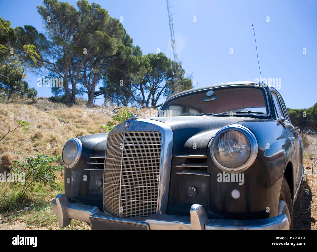 Old Mercedes on Signall Hill - Cape Town Stock Photo