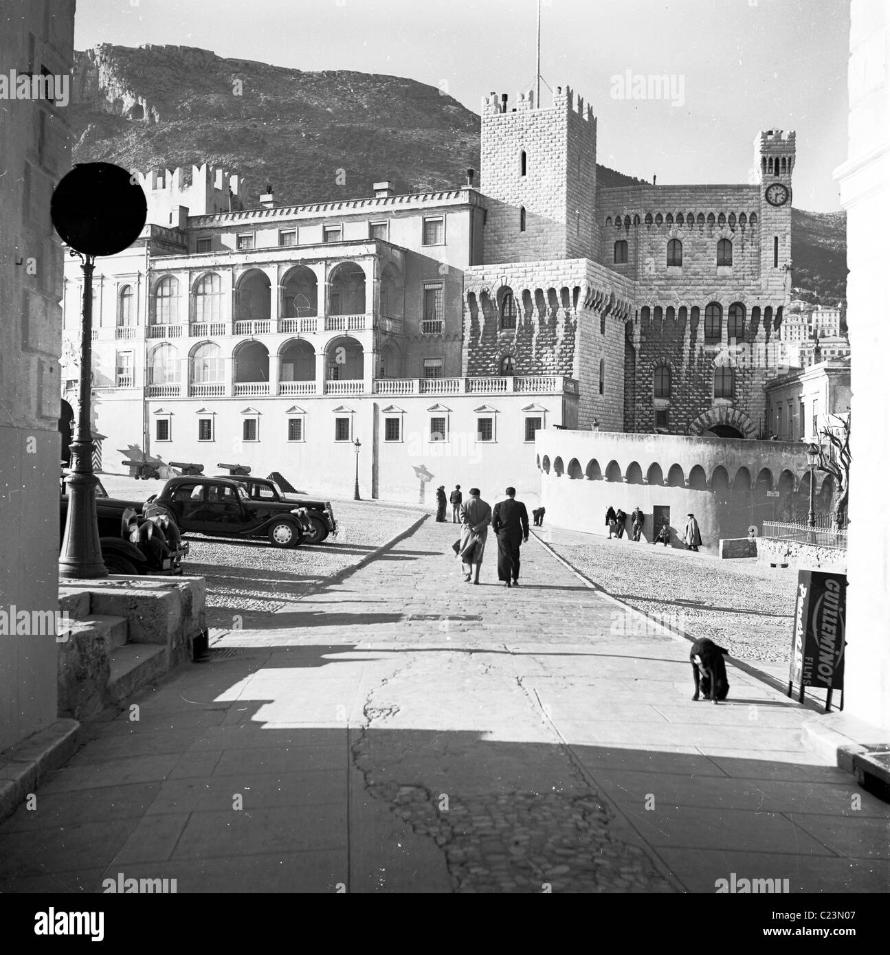1950s. France.  The palace of the House of Grimaldi in Monaco in this historical picture by J Allan Cash. - Stock Image