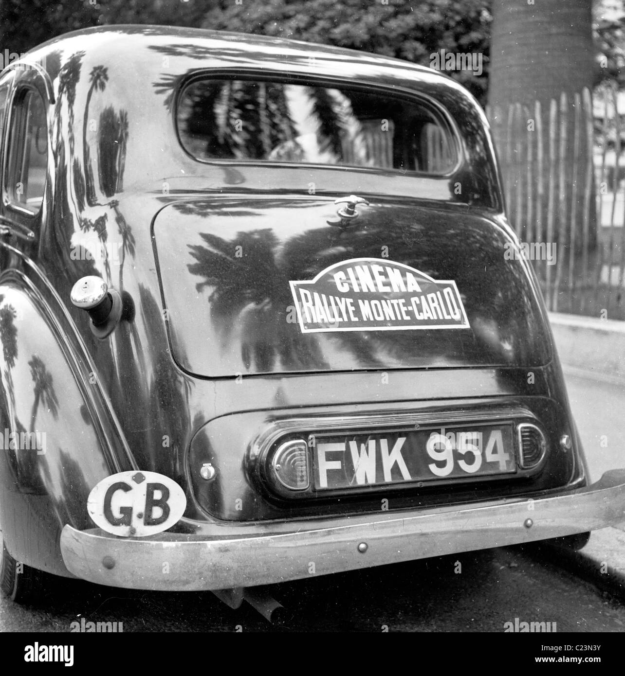 1950s. France. Back of competitor's car in 1952 Monte Carlo Rally with sticker Cinema Rallye Monte-Carlo on - Stock Image