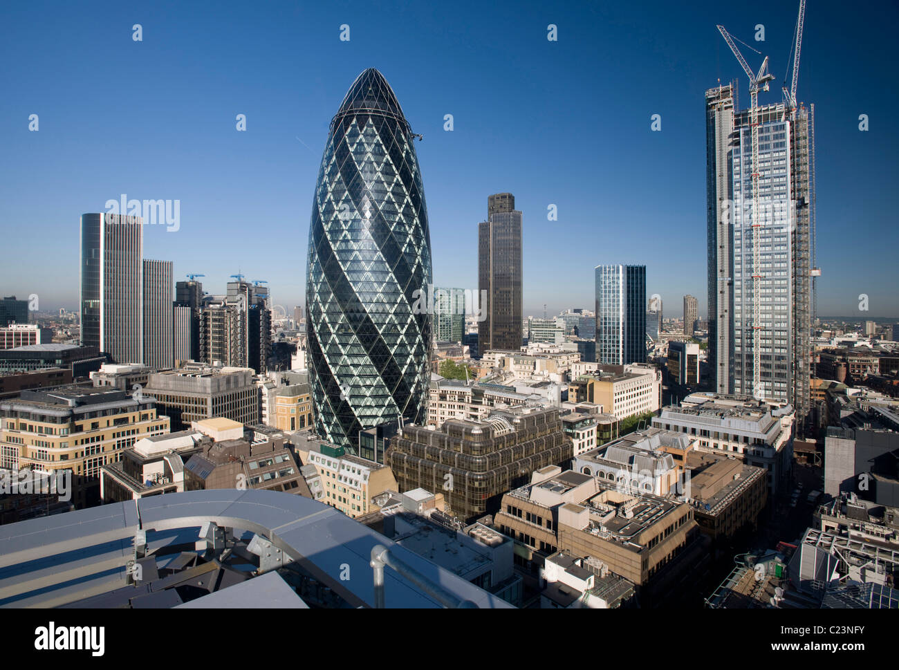City of London from the east with the Gherkin - Stock Image
