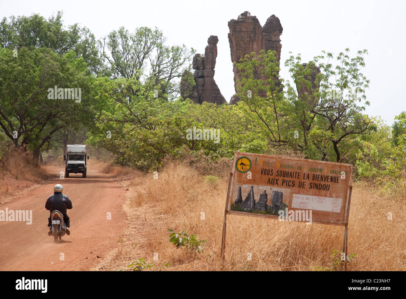 The road sign for the Sindou Peaks on route between Banfora and Bobo Dioulasso - Stock Image