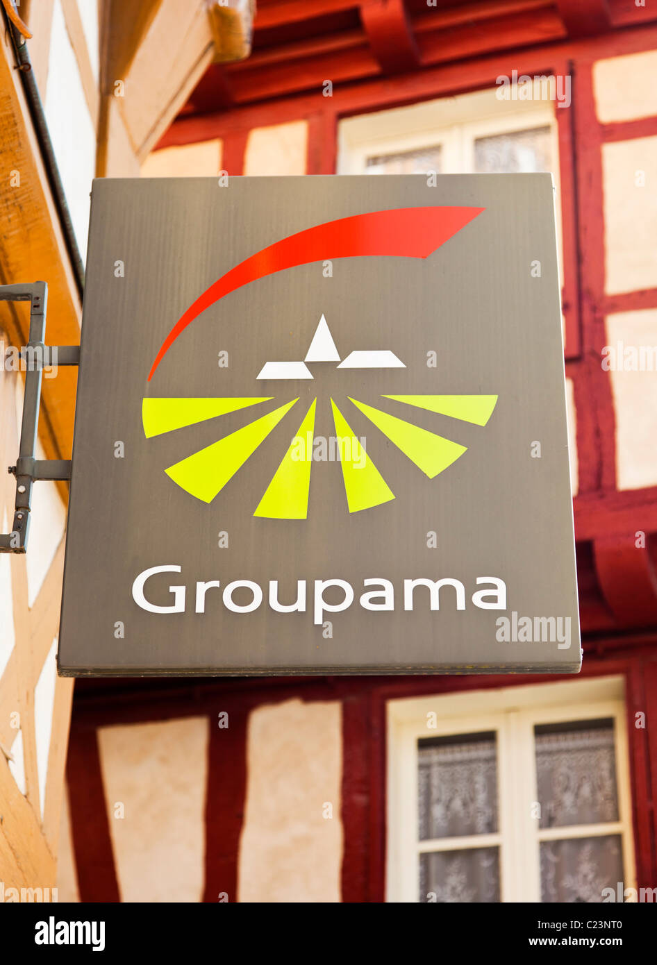 Groupama insurance company sign, France, Europe - Stock Image