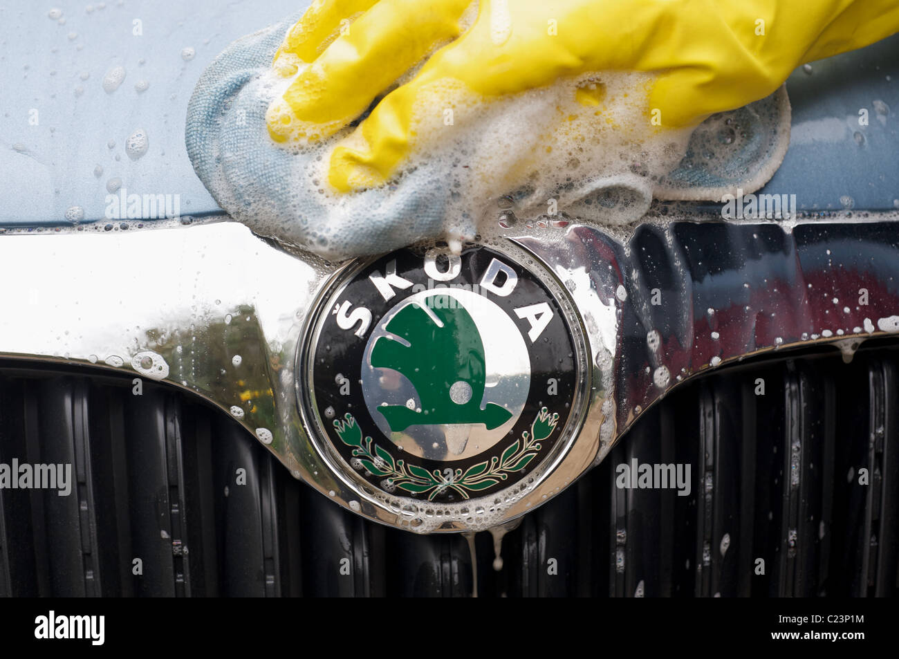 Skoda car being hand washed - Stock Image
