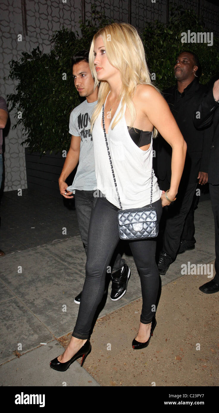 Singer Ashley Roberts with her boyfriend outside the Club