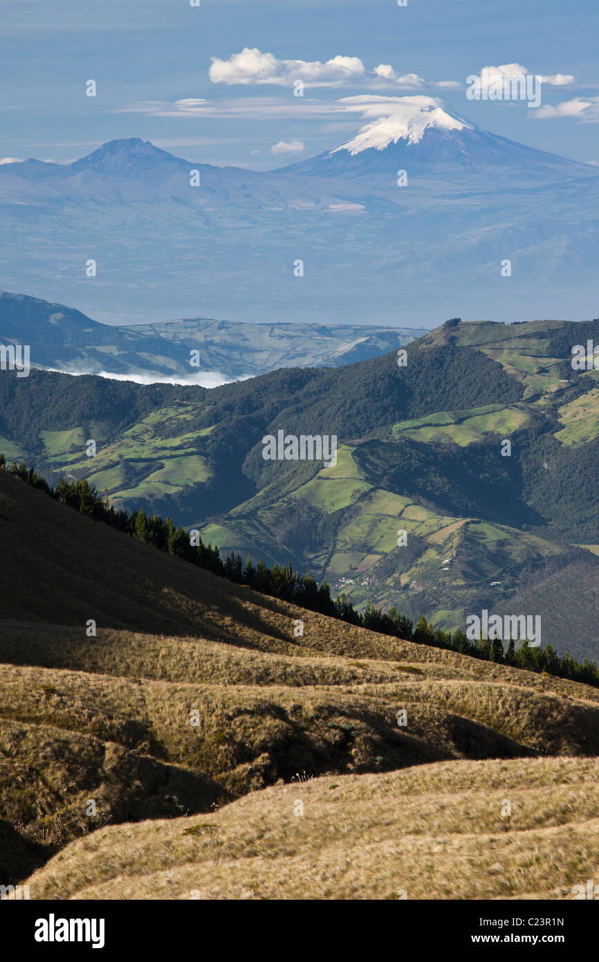 View of Cotopaxi Volcano from Cotacachi Volcano, Imbarura Province, Otavalo, Ecuador Stock Photo