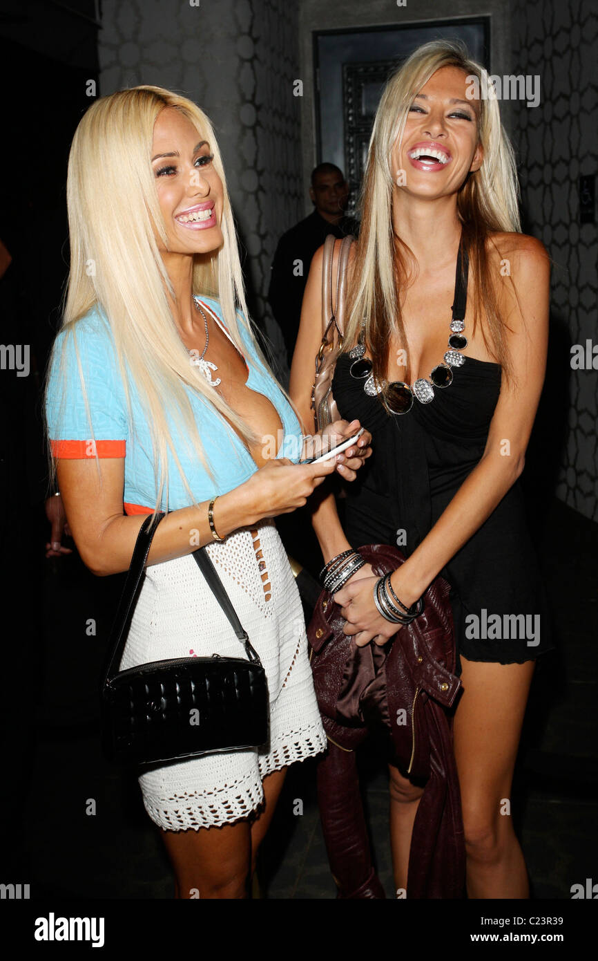Shauna Sand and a friend outside the Club Voyeur in West