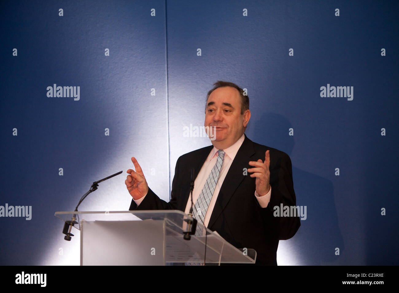Scotland's First Minister Alex Salmond MSP delivers the  keynote address at the Scottish European Green Energy - Stock Image