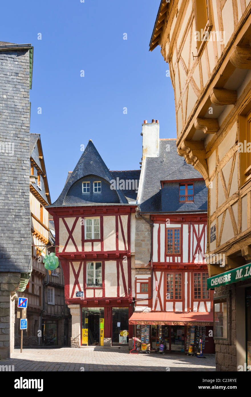 Vannes, France - Place Henri IV square in the city with old medieval buildings, Vannes, Morbihan, Brittany, France, Stock Photo