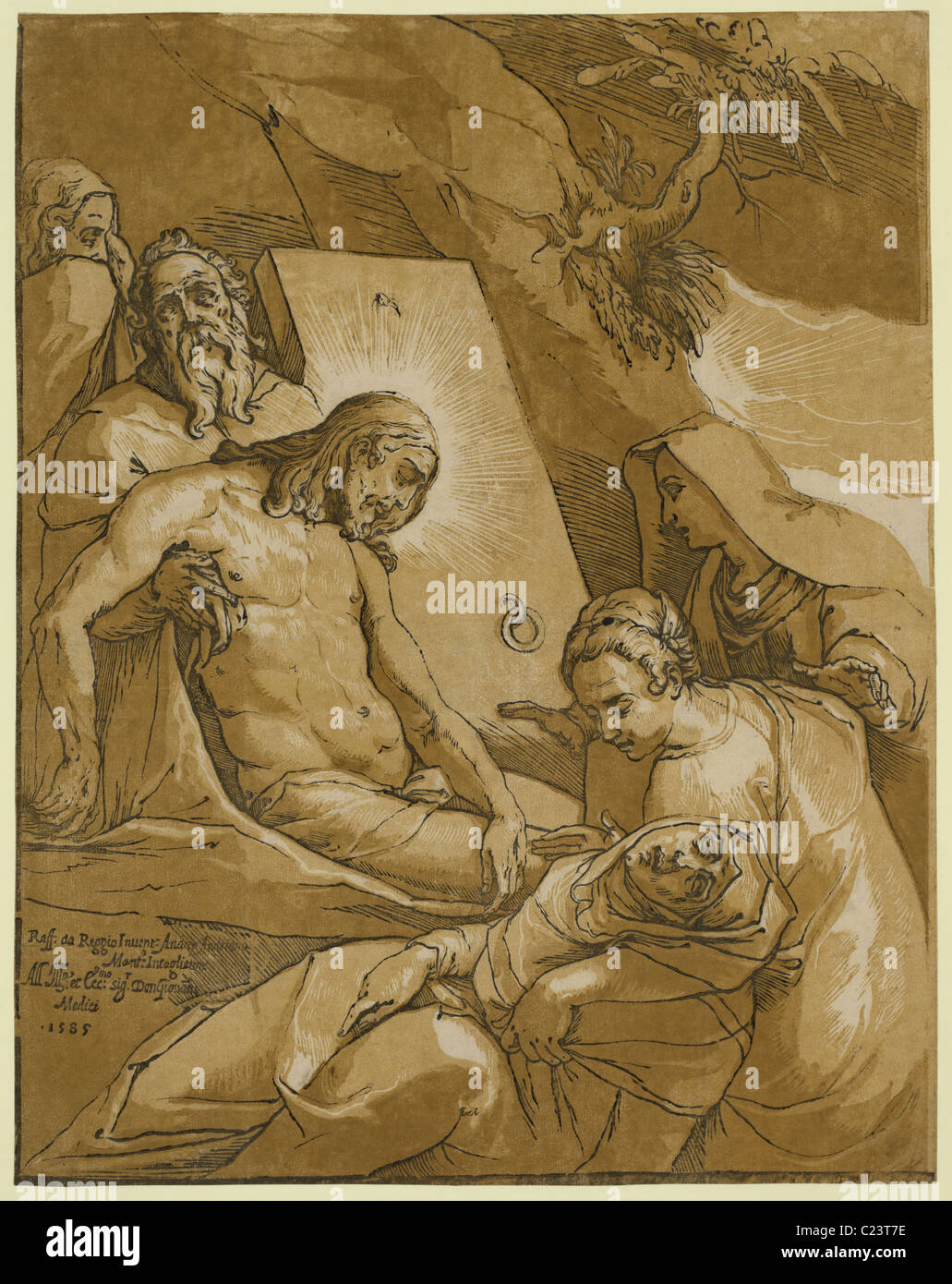 The entombment Print shows Jesus Christ being supported by Joseph of Arimethia as Mary Magdalene gives comfort to - Stock Image