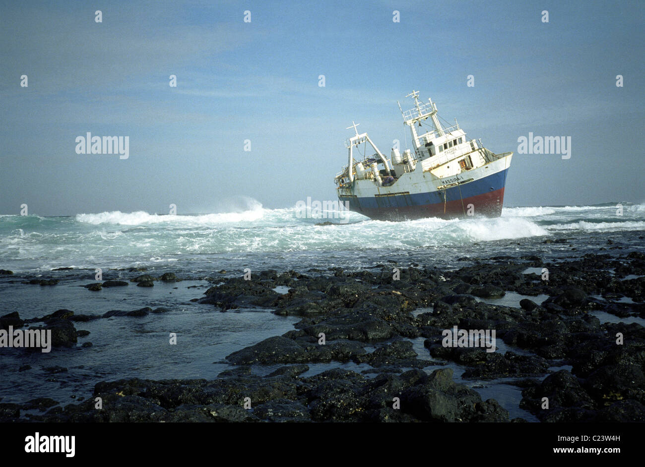 Shipwreck off the coast of Kenya Africa - Stock Image