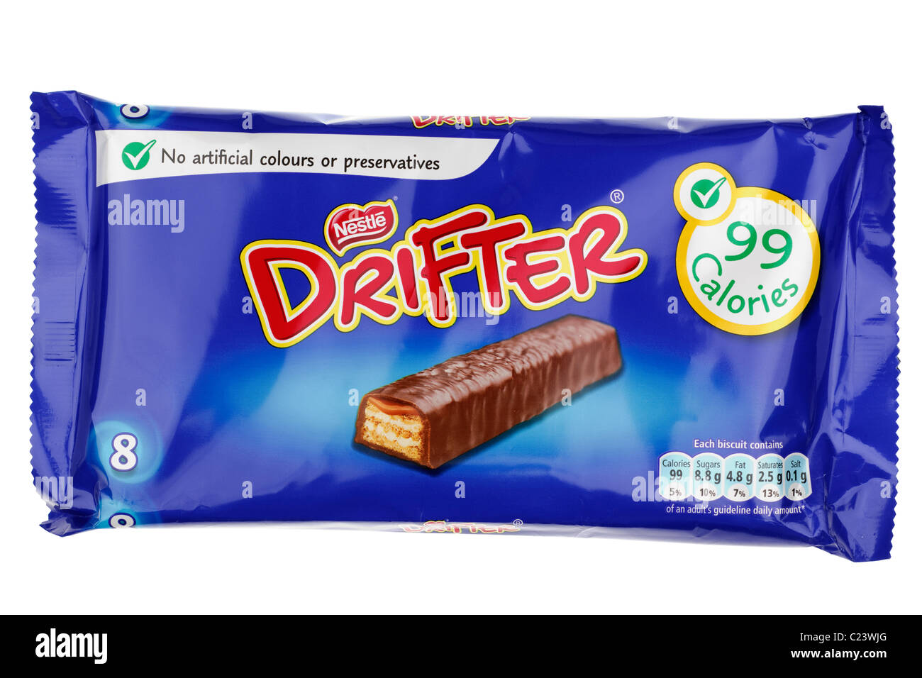 Packet of eight Nestle Drifter chocolate covered biscuit bars - Stock Image