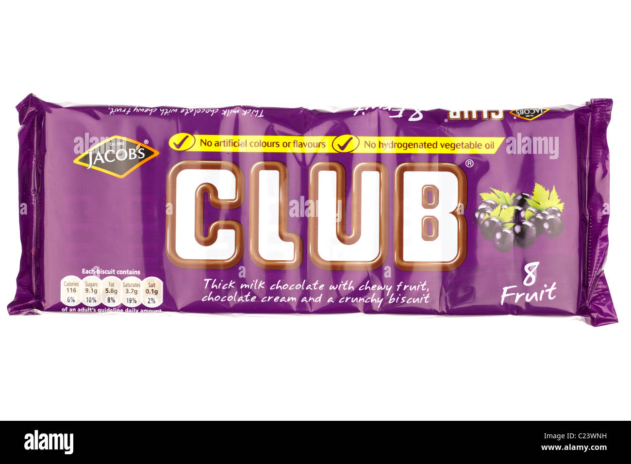 Packet Of Eight Jacobs Club Chocolate Fruit Covered Biscuit