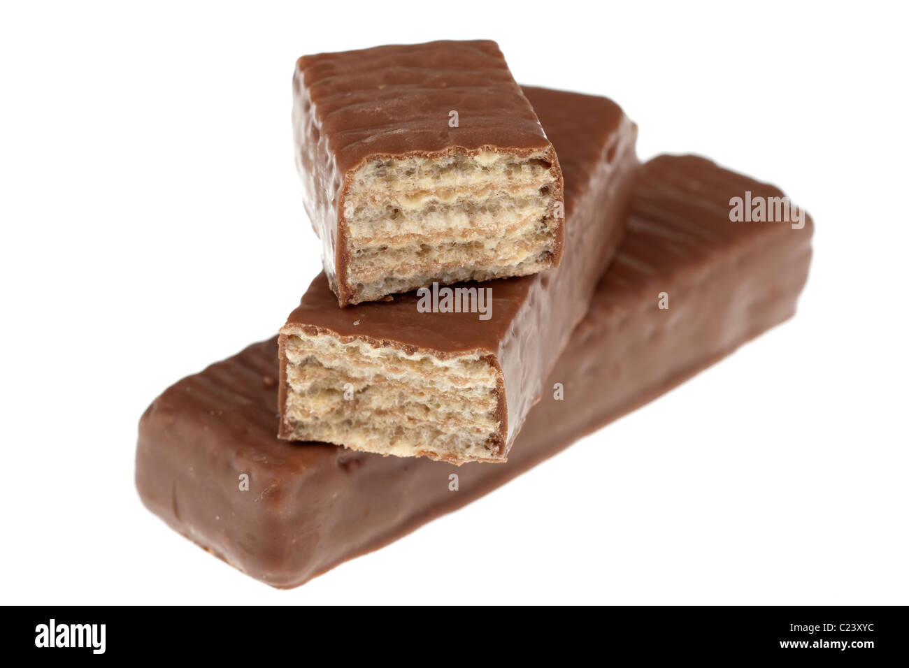 Halved Blue Riband chocolate covered wafer biscuits - Stock Image