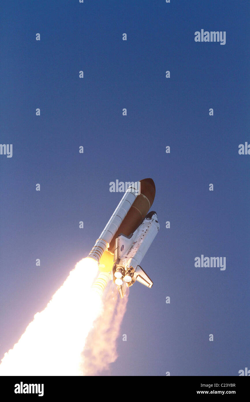 Discovery's Last Liftoff! Space shuttle Discovery heads to space lifting off from Launch Pad 39A at NASA's - Stock Image