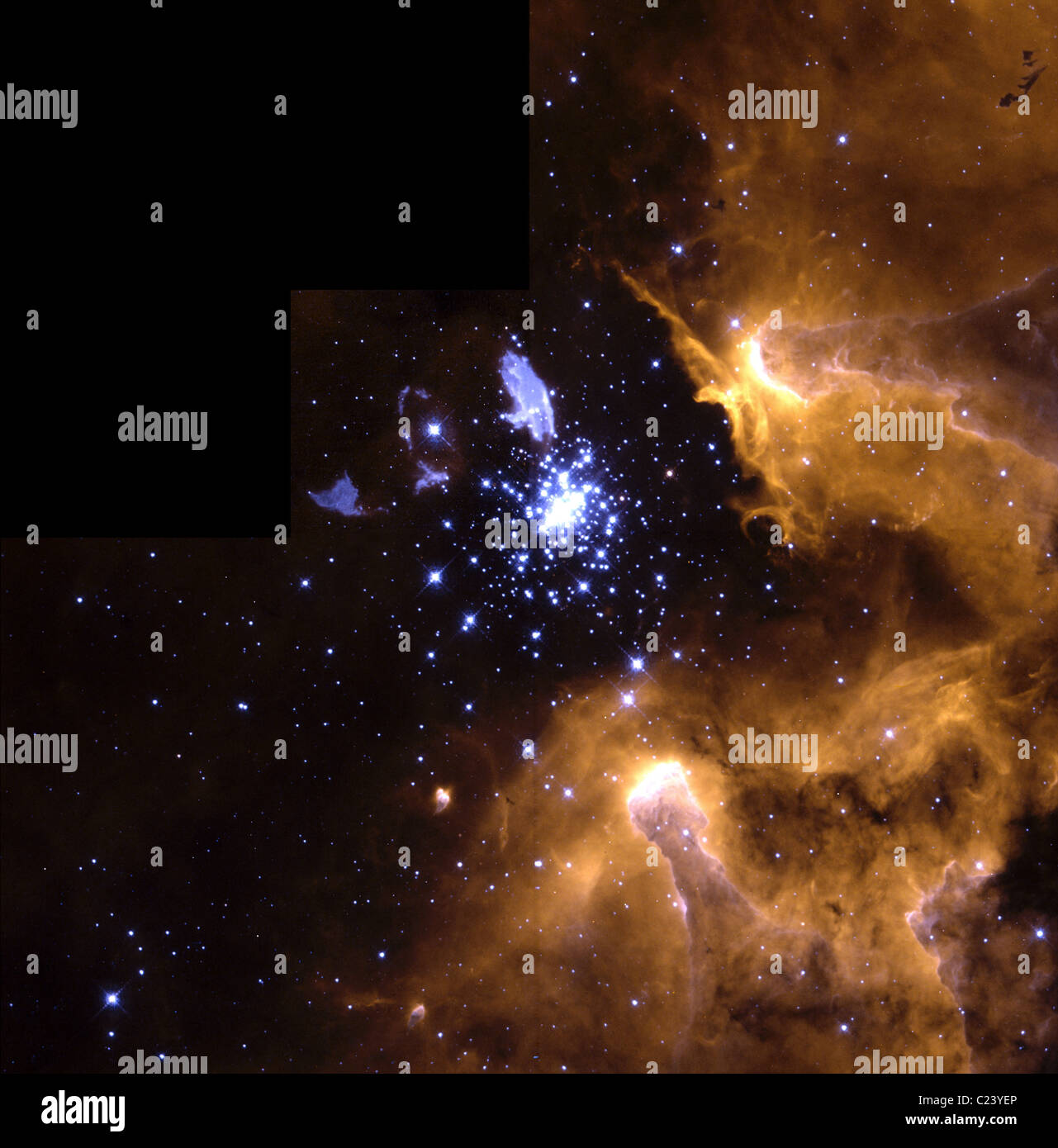 Life Cycle of Stars In this stunning picture of the giant galactic nebula NGC 3603 Stock Photo