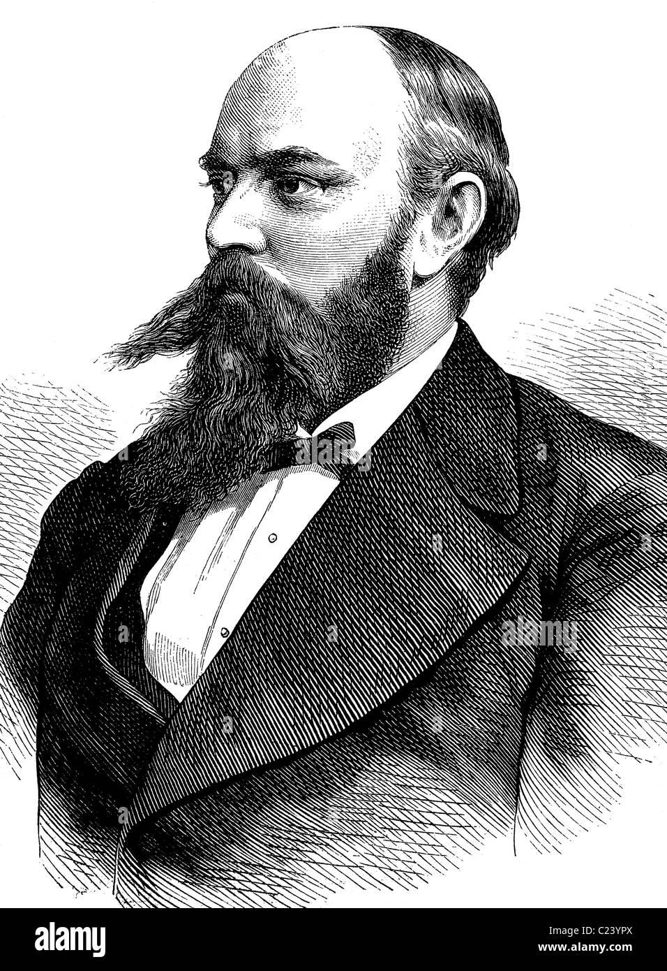 Ewald August König, 1844-1313, deutscher Professor für Bergbau und Mineralogie, historische Illustration, - Stock Image
