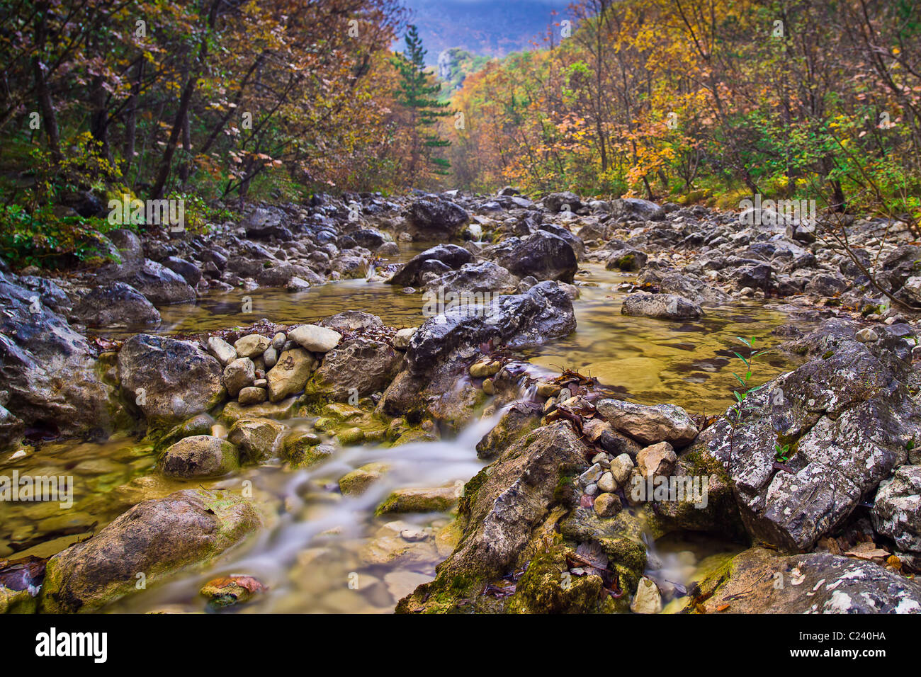 Velika Paklenica creek, Autumn in Starigrad Paklenica National Park, Croatia Stock Photo