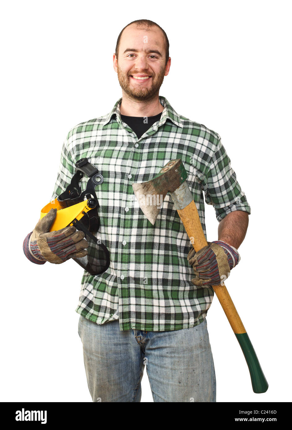 portrait of caucasian smiling lumberjack on white background - Stock Image
