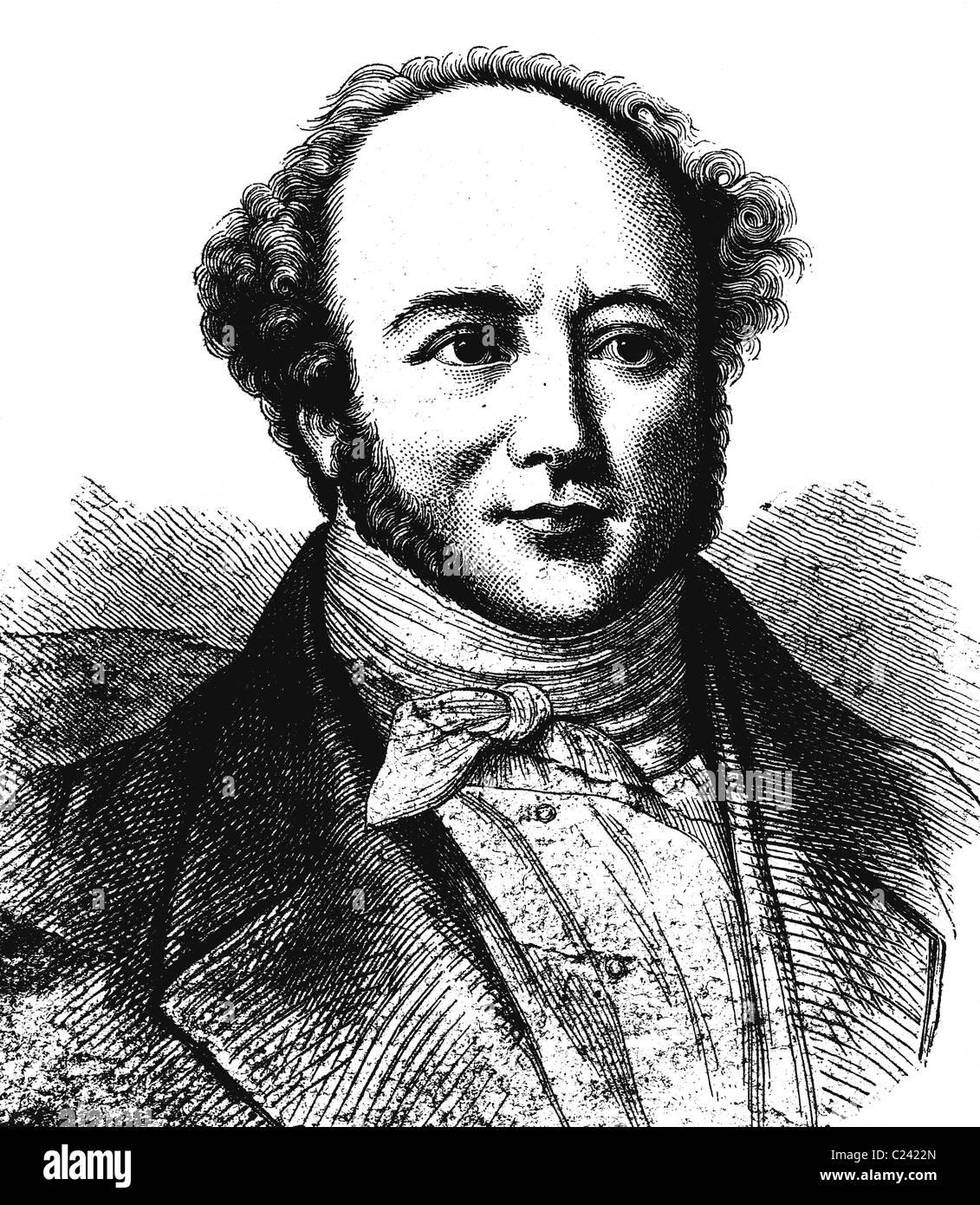 Jeremias Gotthelf war das Pseudonym des schweizer Schriftstellers Albert Bitzius, 1797-1854, historische Illustration, - Stock Image