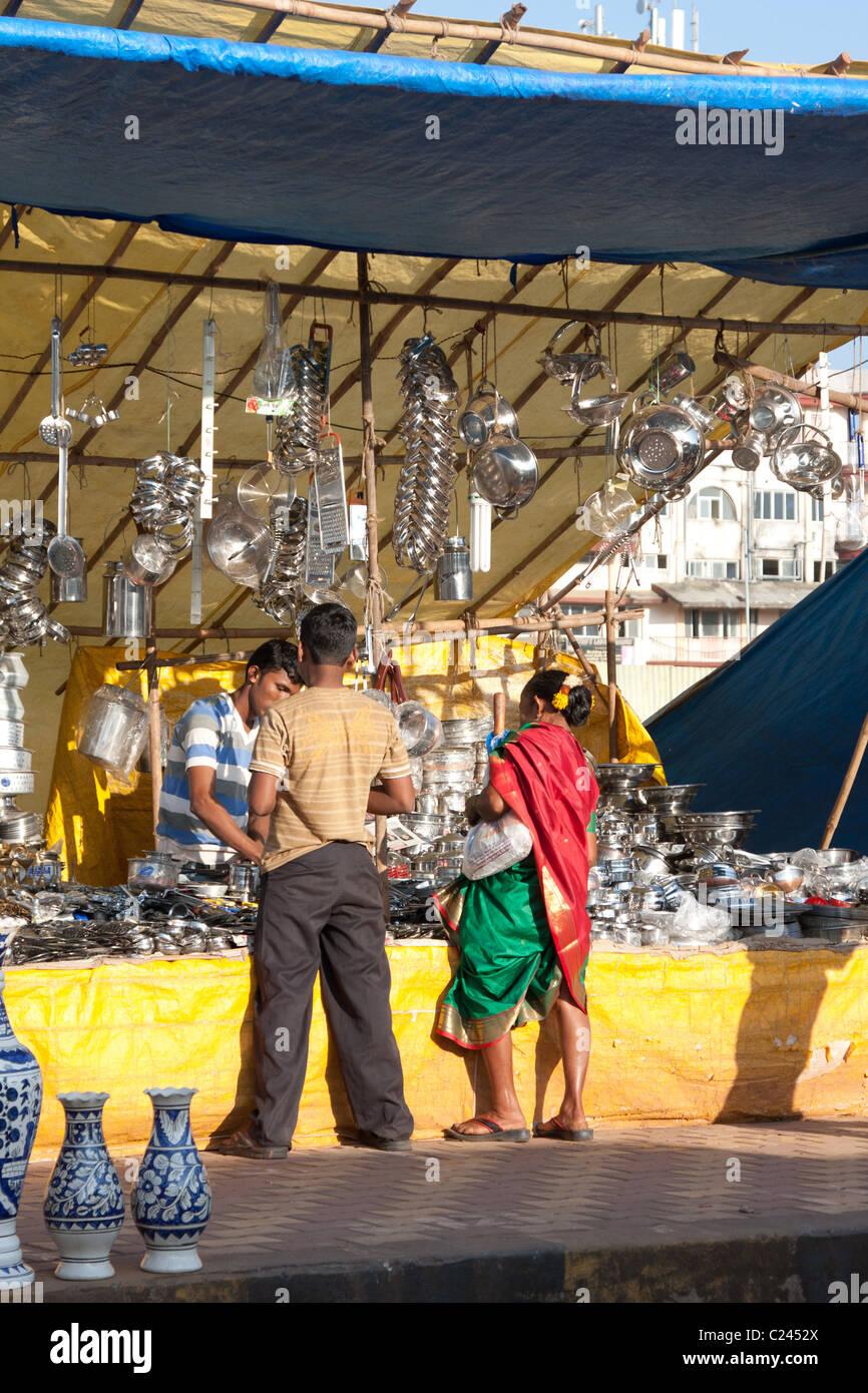 Part of the massive Margao street market - Stock Image