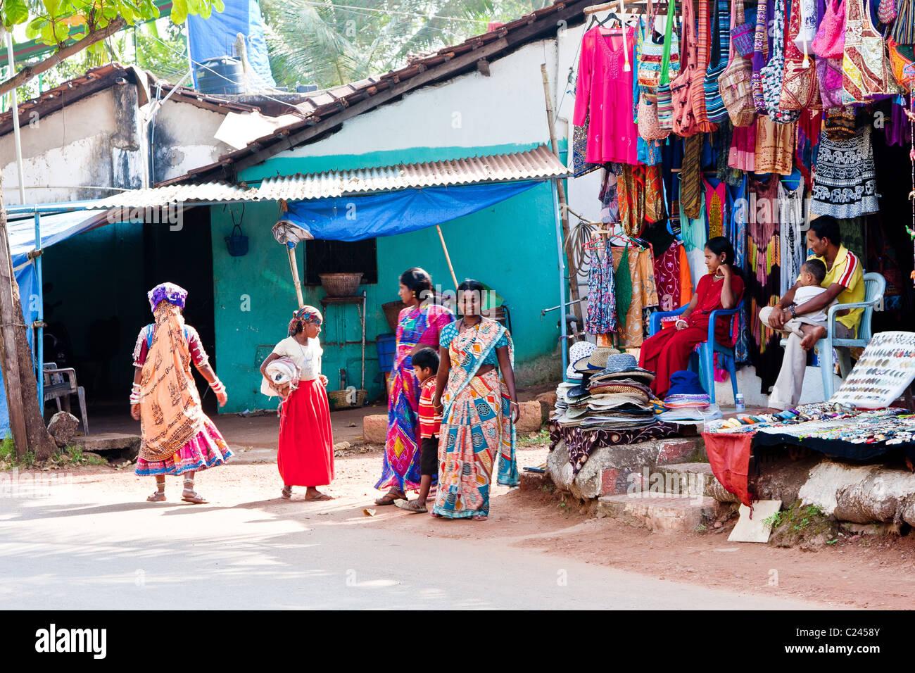 A street in Colva, Goa - Stock Image