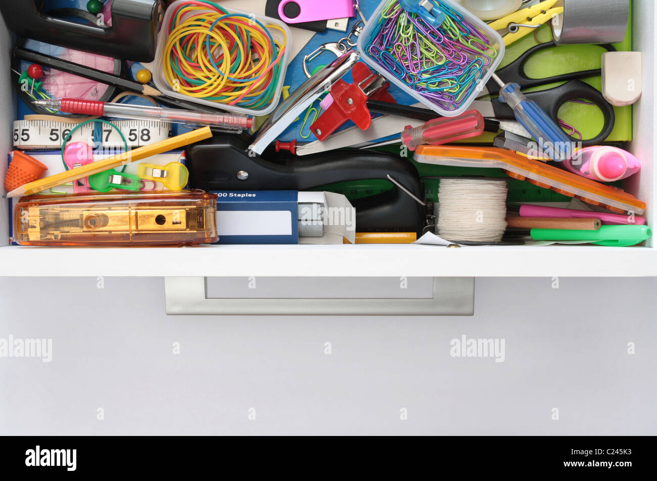 Secrets of the Stationery Drawer Exposed - Stock Image