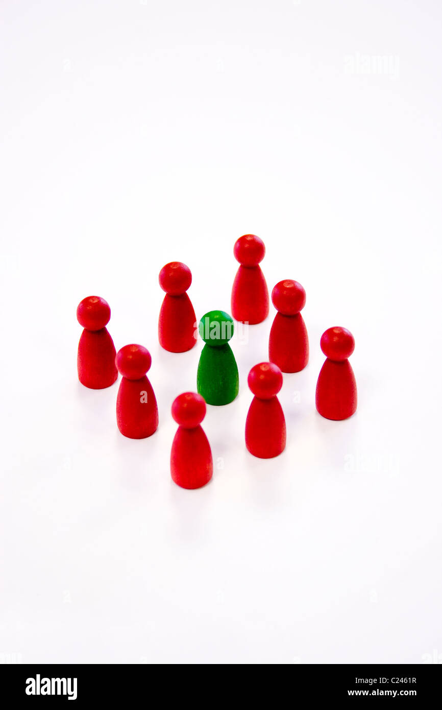 counters piece wood play game colour group small represent people group gang orderly line together random red yellow - Stock Image