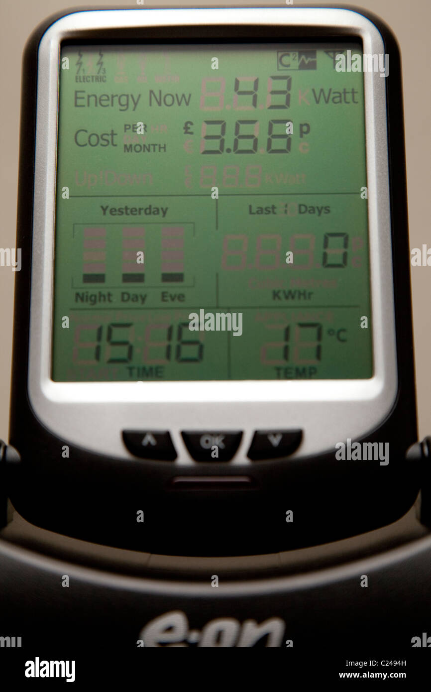 An EON electricity smart meter monitoring live consumption of electricity in a domestic property England UK - Stock Image