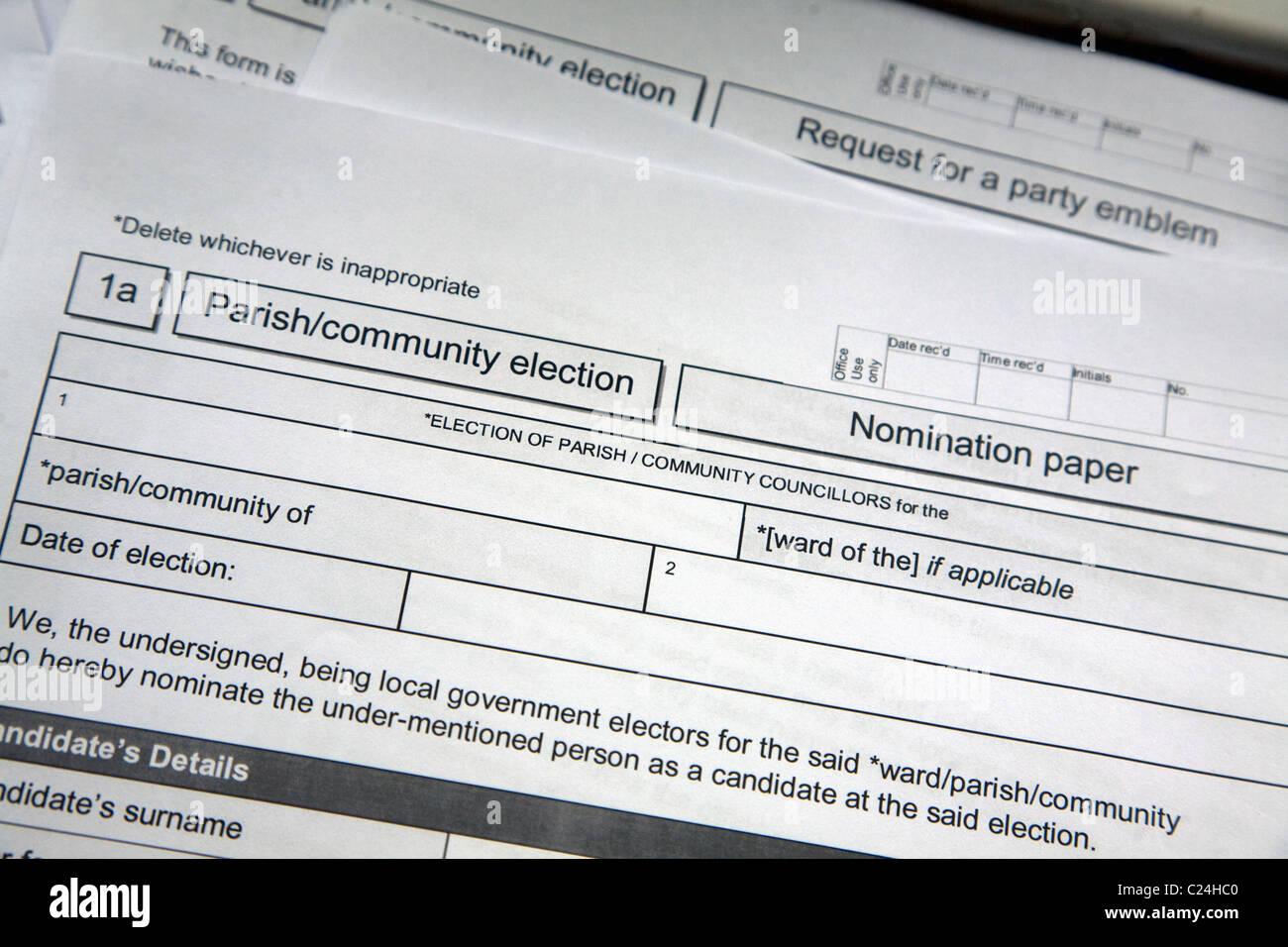 Parish council election nomination paper forms - Stock Image