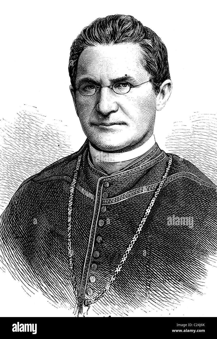 Auxiliary Bishop Lothar von Kuebel, administrator of the Archdiocese of Freiburg, 1823 - 1881, historical illustration, - Stock Image