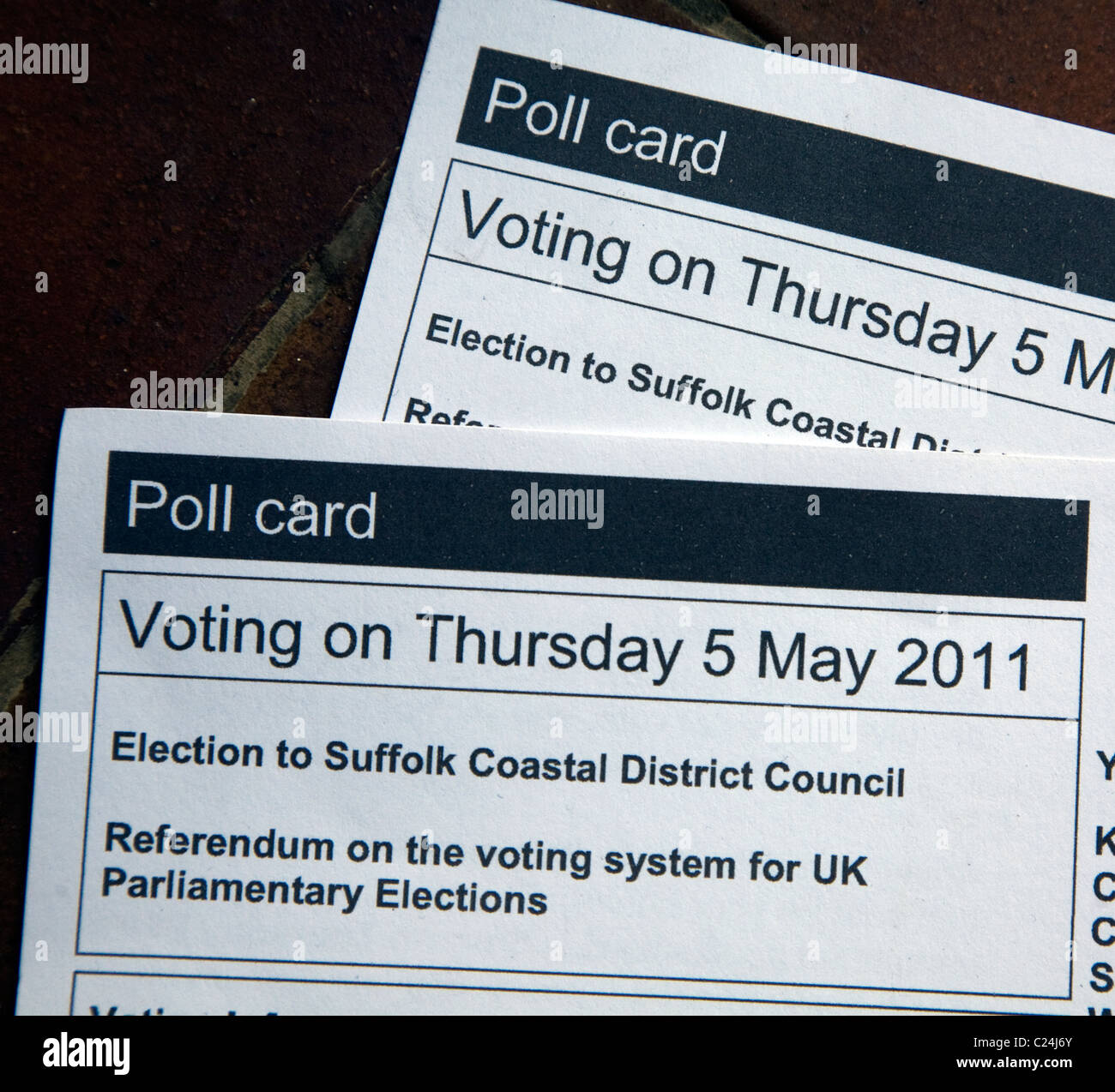Poll cards for local elections 5 May 2011 - Stock Image