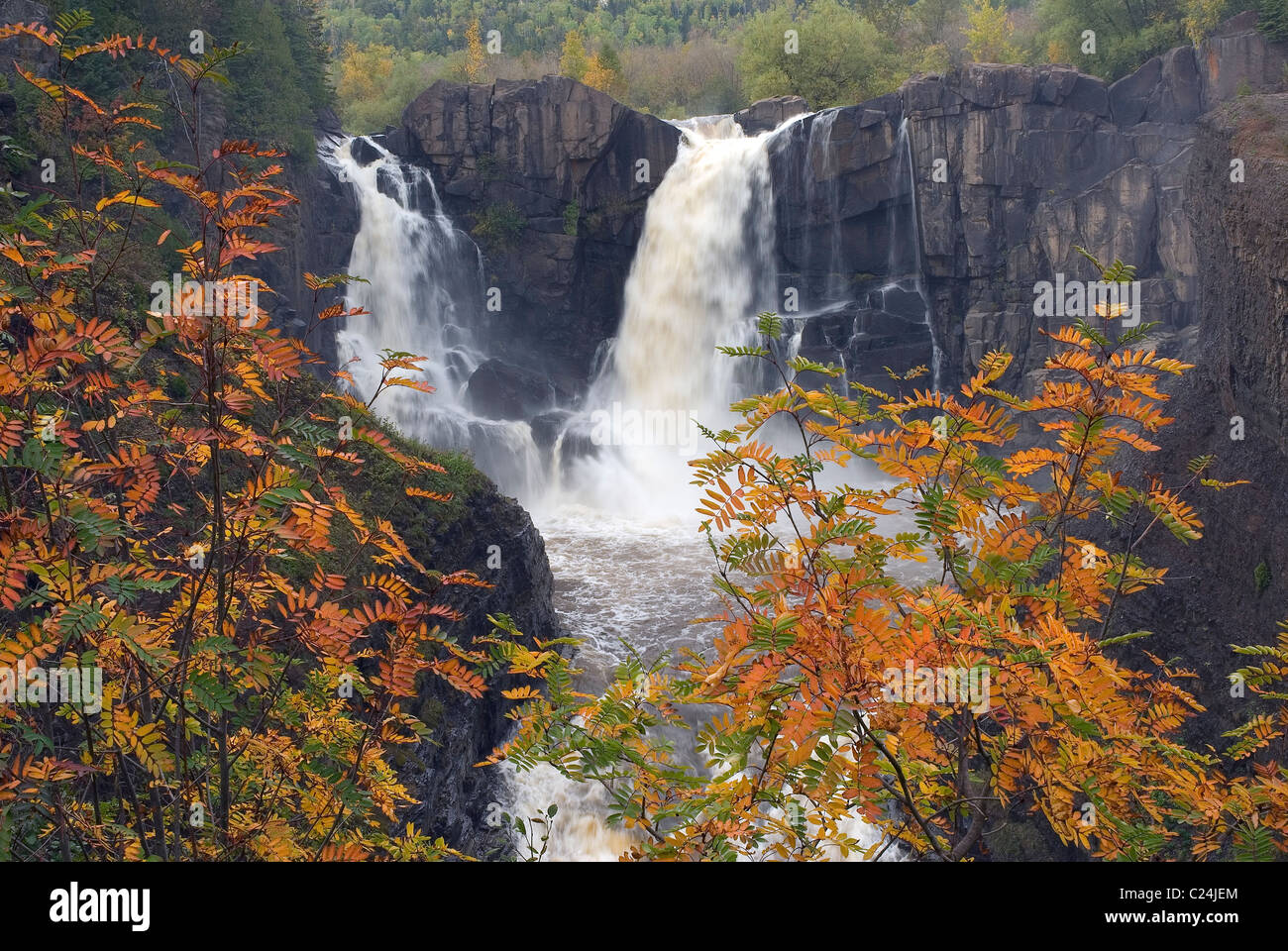 Pigeon River Waterfalls Grand Portage State Park Minnesota Autumn USA - Stock Image
