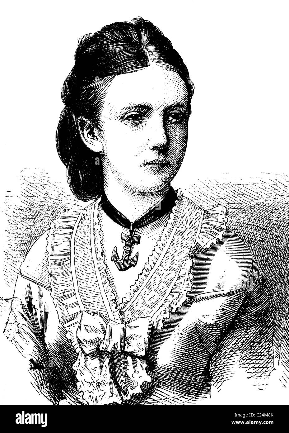 Princess Marie of Prussia, 1855 - 1888, wife of Henry of the Netherlands, and later Leopold Friedrich of Anhalt-Dessau, historic Stock Photo