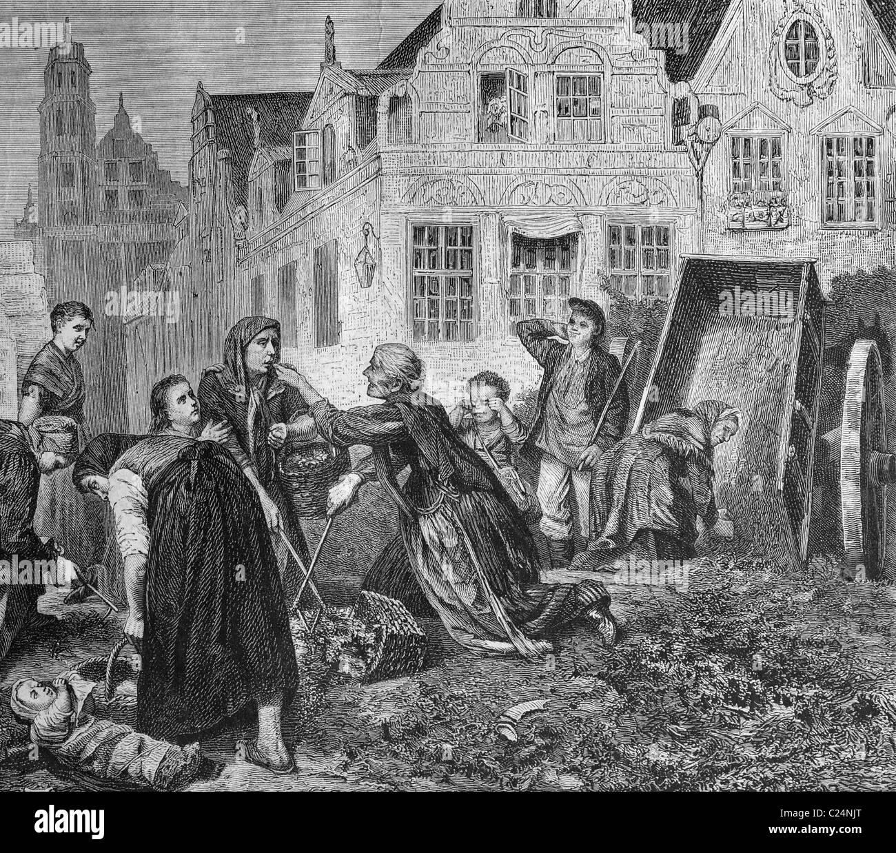 Rag gatherers, Danziger, Poland, historical illustration, 1877 - Stock Image