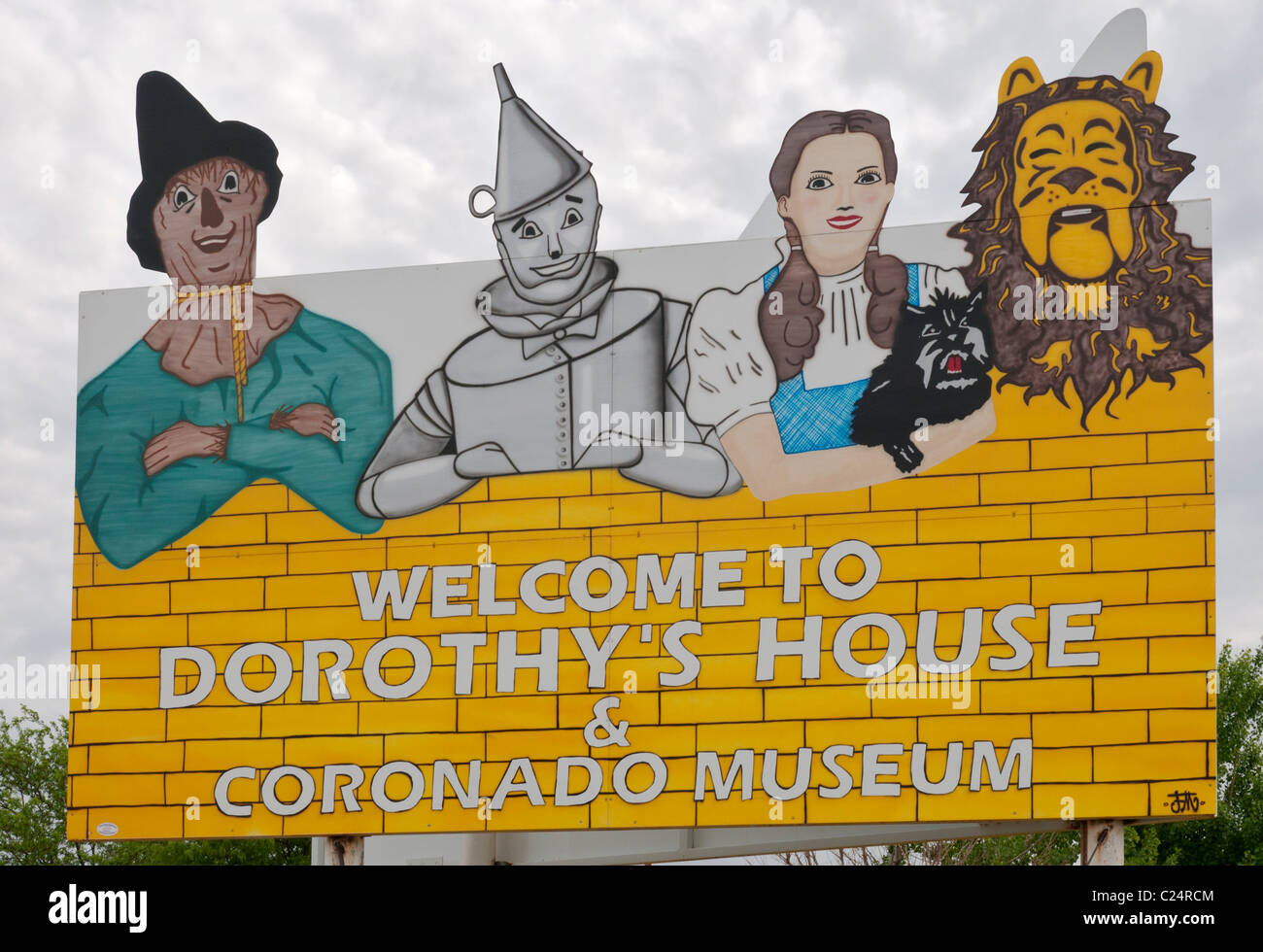 Kansas, Liberal, Dorothy's House, replica of fictional Kansas farmhouse and Yellow Brick Road to Land of Oz - Stock Image
