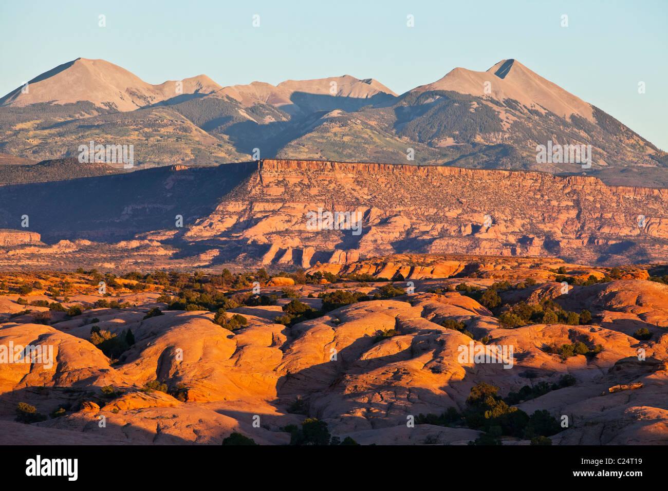 The La Sal Mountain Range as seen from Slickrock trail outside Moab, Utah, USA. - Stock Image