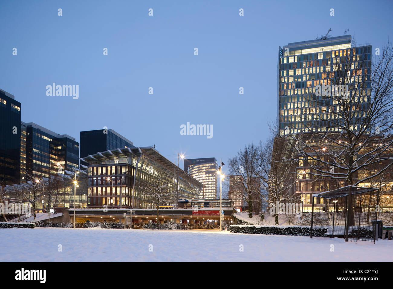 WTC World Trade Center Amsterdam on the Zuidas central business district cbd in winter snow. Nauta AbnAmro ABN-Amro - Stock Image