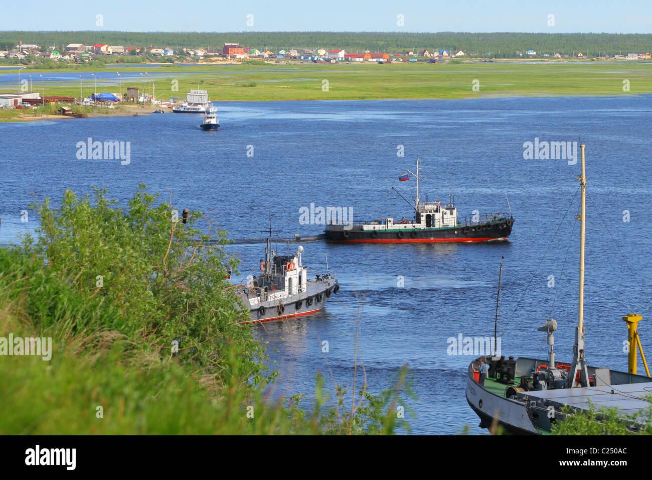 Navigation on the Ob River. Salekhard, Yamalo-Nenets Autonomous Okrug, RUSSIA - Stock Image