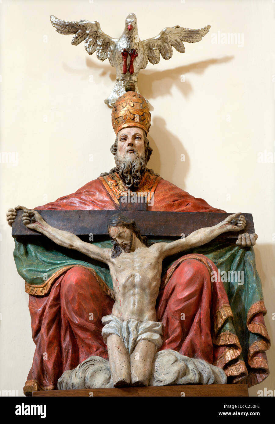 holy Trinity statue from Vienna church - carving - Stock Image