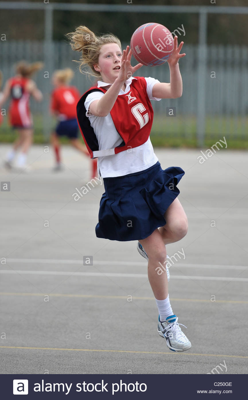 County Schools Netball Tournament. Action from a schools netball competition. - Stock Image