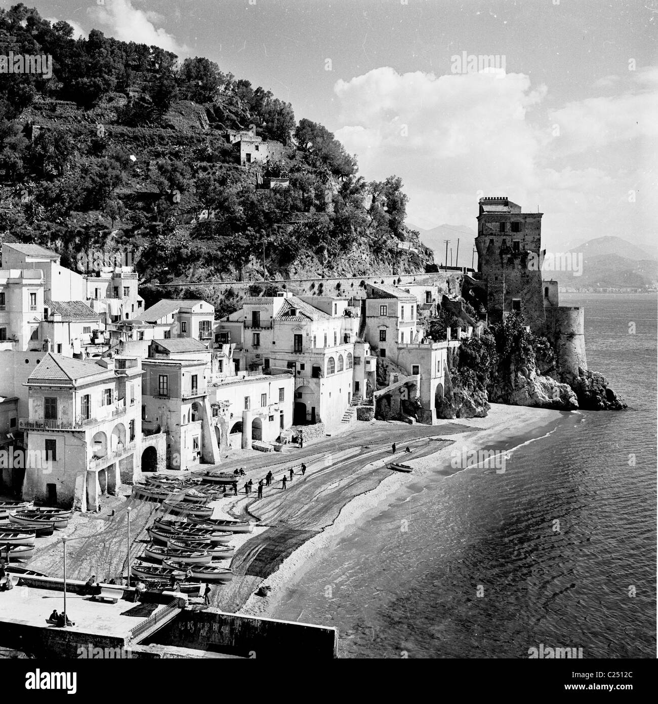 Italy, 1950s. View of a seaside resort - Stock Image