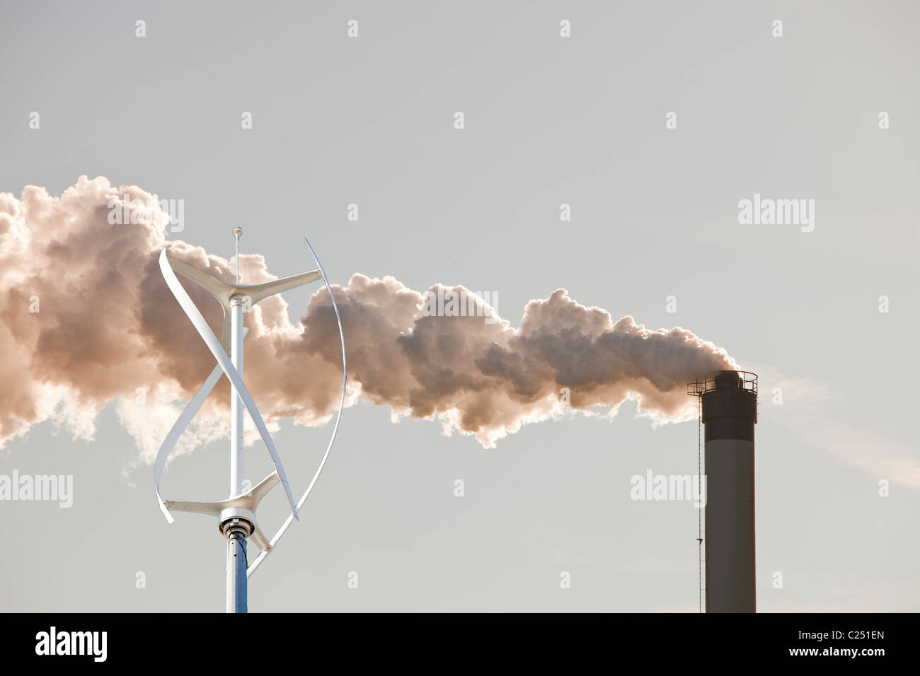 Emissions from Huntsman Tioxide works at Seal Sands on Teeside, North East, UK. - Stock Image
