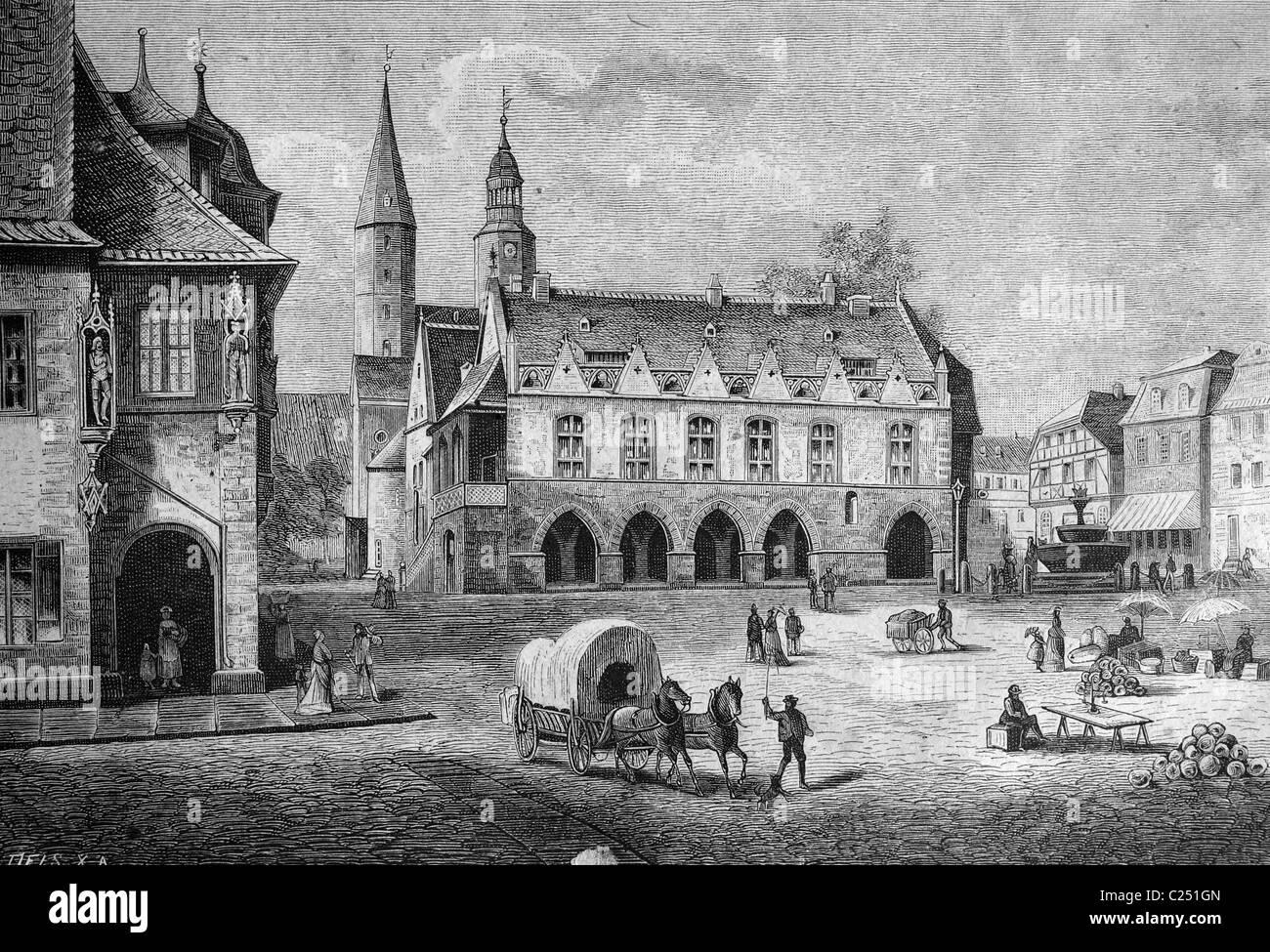 Town hall in Goslar, Germany, historic illustration, 1877 - Stock Image