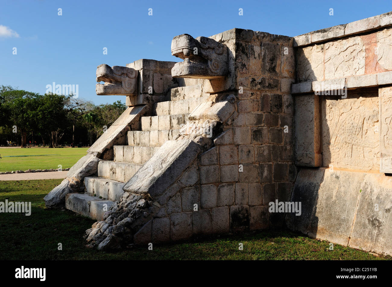Platform of the Jaguars at Chichen Itza, Yucatan, Mexico - Stock Image