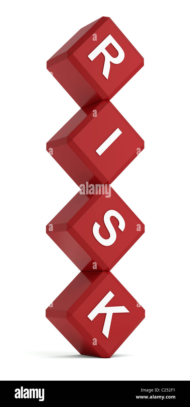 Risk word on red cubes in unstable position - Stock Image