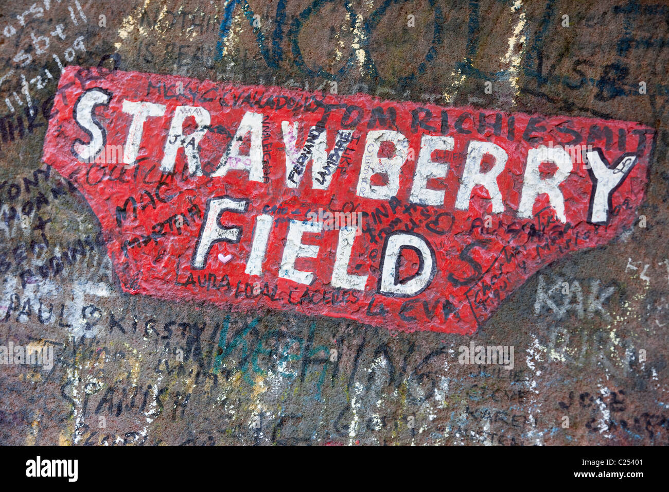 The gateway to Strawberry Field, the subject of a Beatles song, Liverpool - Stock Image