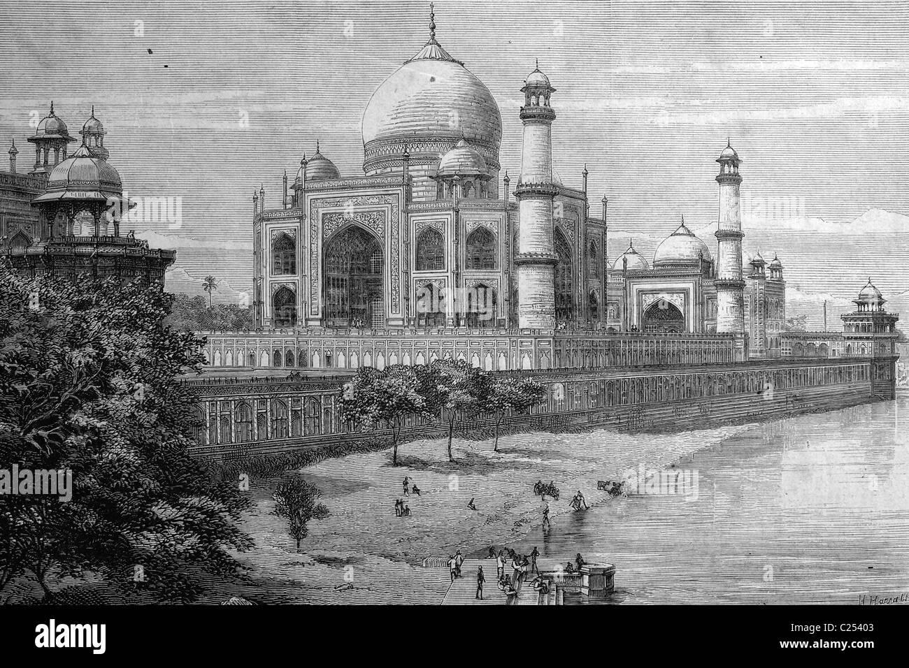 Taj Mahal in Agra, India, historic illustration, 1877 - Stock Image