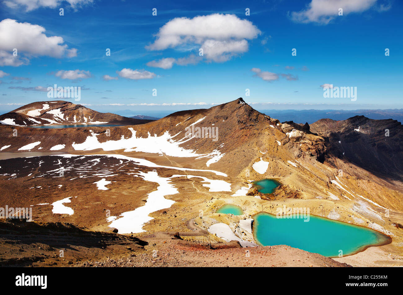Emerald Lakes, Tongariro National Park, New Zealand - Stock Image