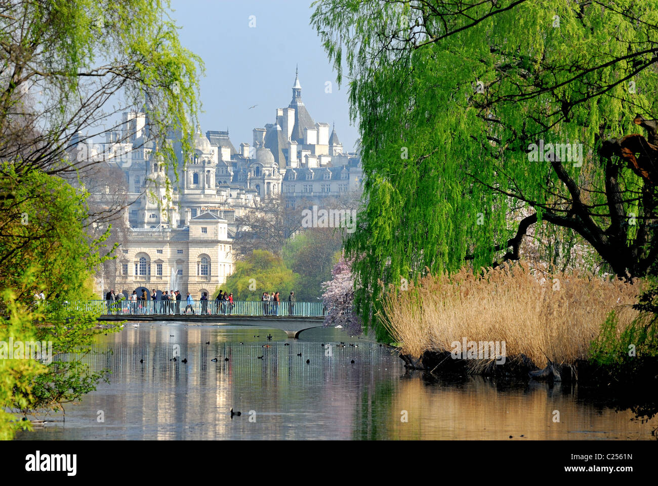 St.James Park,  with Government buildings in distance Central London England UK Stock Photo